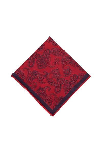 Brioni - Red & Navy Paisley Silk Pocket Square