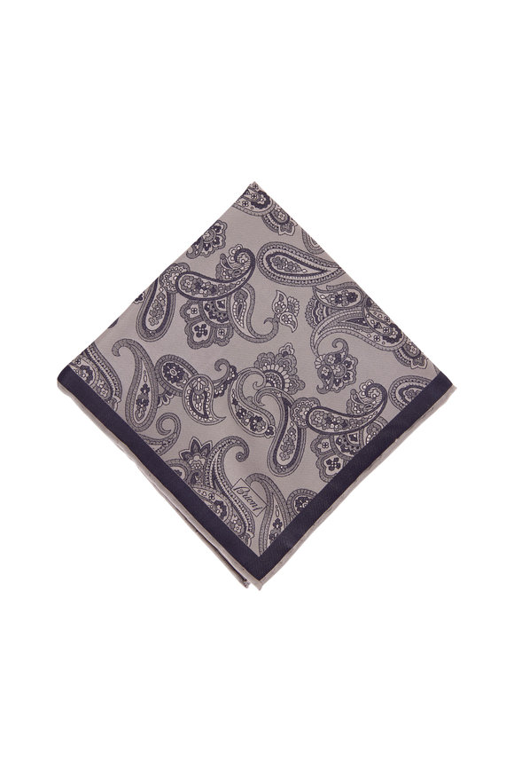 Brioni Grey & Navy Paisley Pocket Square