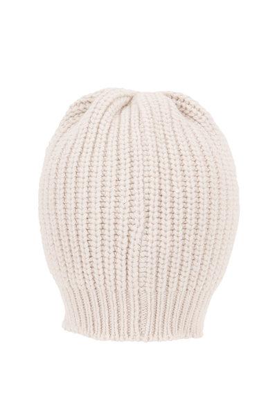 Brunello Cucinelli - Warm White Paillette English Rib Hat