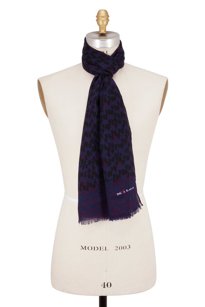 Kiton - Purple Pattern Cashmere Scarf