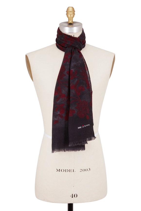 Kiton Dark Grey & Rust Pattern Cashmere Scarf