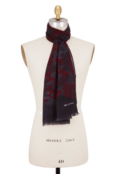 Kiton - Dark Grey & Rust Pattern Cashmere Scarf