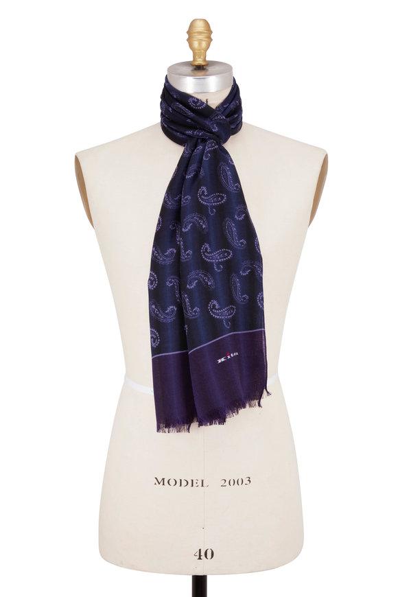 Kiton Purple Paisley Cashmere Scarf