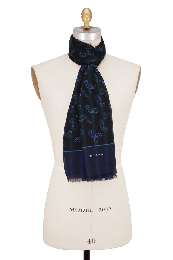 Kiton Hunter Green Paisley Cashmere Scarf
