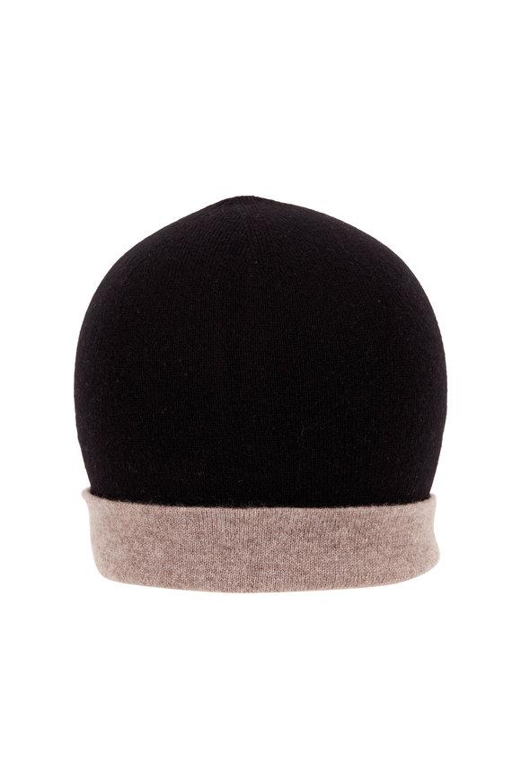 Kinross Black & Suede Cashmere Reversible Colorblock Hat