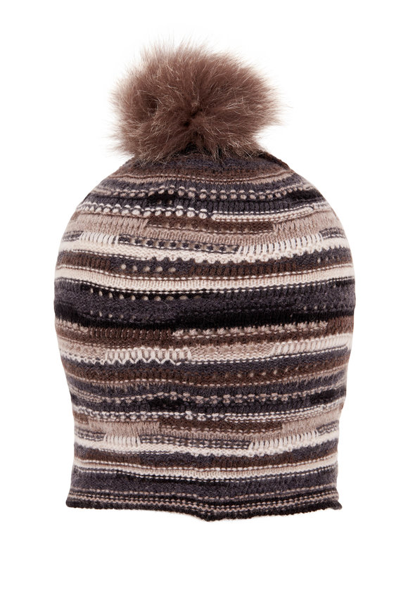 Kinross Black Multi Cashmere Fur Pom Wave Stitch Hat