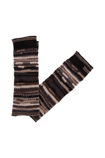 Kinross - Black Multi Cashmere Fingerless Gloves