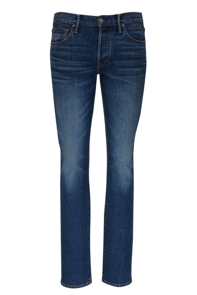 Tom Ford - Blue Medium Wash Slim Fit Jeans