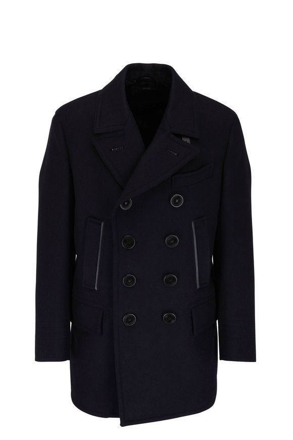 Tom Ford Navy Blue Wool Double-Breasted Peacoat
