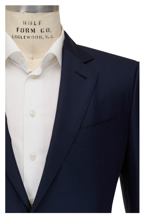 Tom Ford Navy Blue Wool Sharkskin Suit