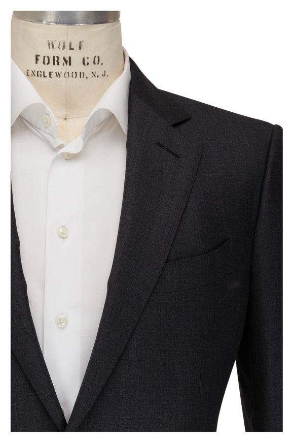 Tom Ford Dark Grey Sharkskin Wool Suit