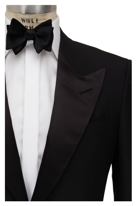 Tom Ford Black Wool Peak Lapel Tuxedo