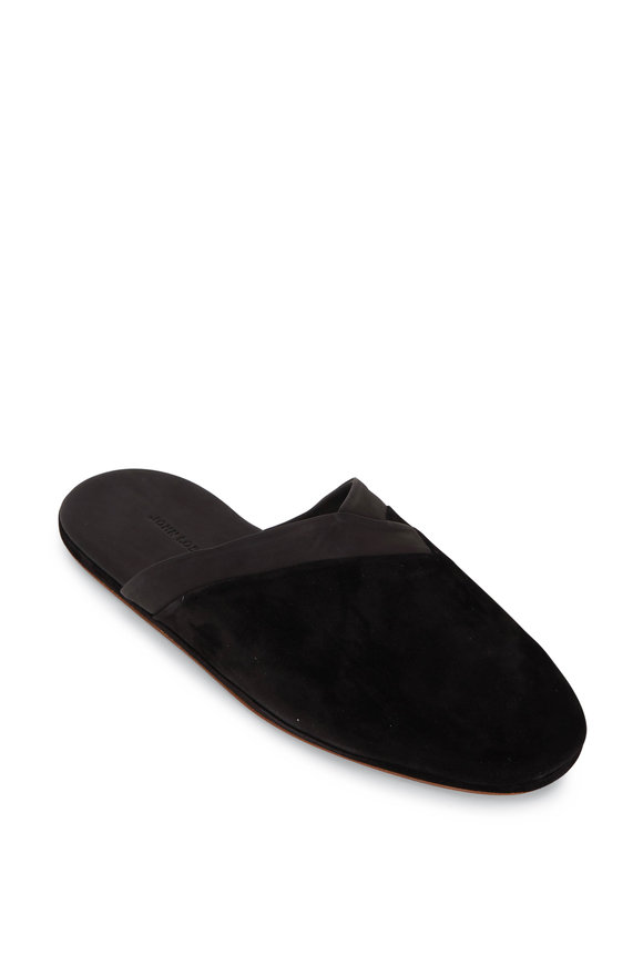 John Lobb Black Knighton Suede Slippers