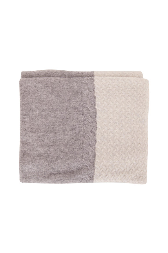 Kinross Whisper/Sterling Colorblock Cable Throw Blanket