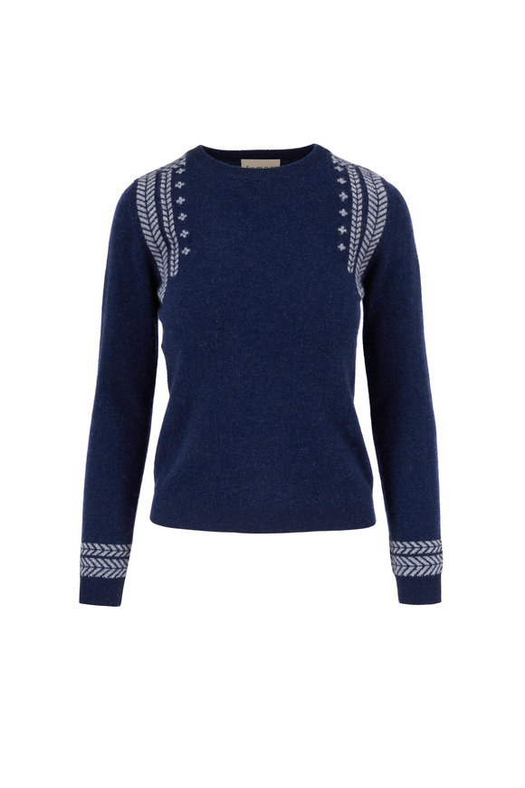 Jumper 1234 Navy Blue Cashmere Crewneck Sweater