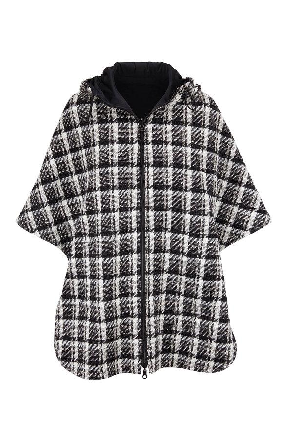 Akris Punto Black & White Plaid Hooded Reversible Cape