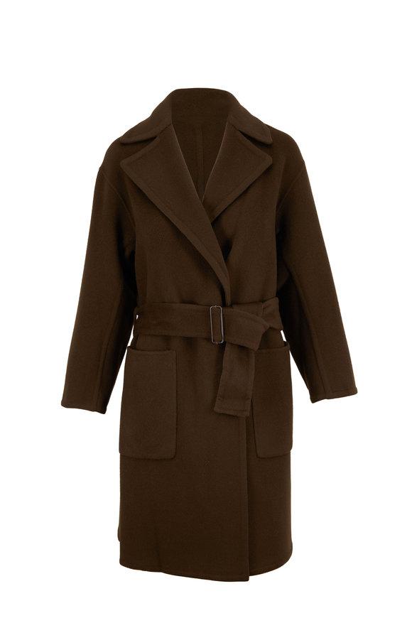Vince Olive Green Brushed Wool Patch Pocket Coat