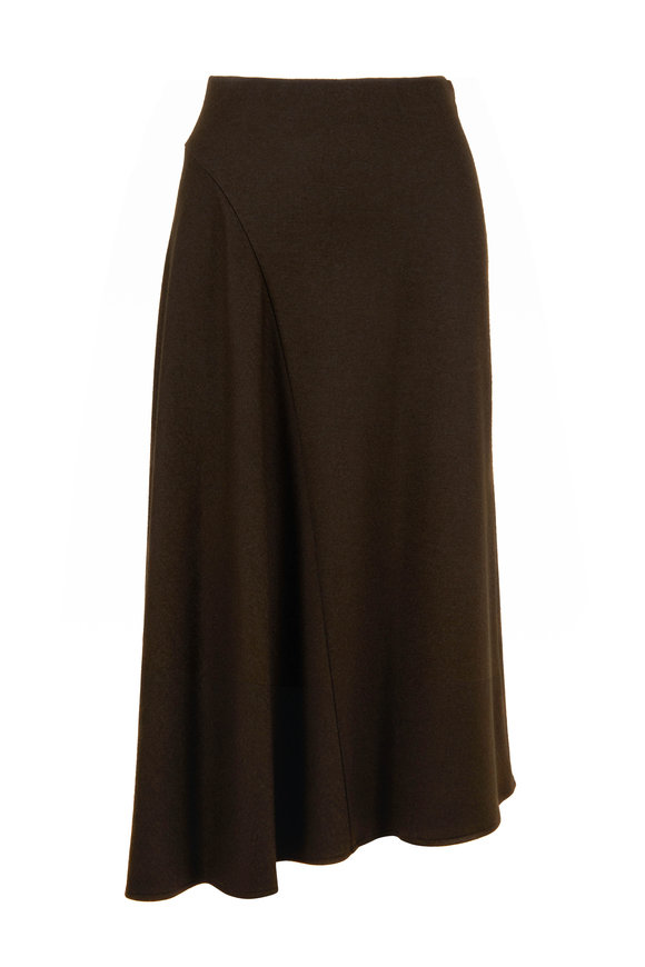 Vince Antique Olive Wool Cozy Asymmetrical Midi Skirt