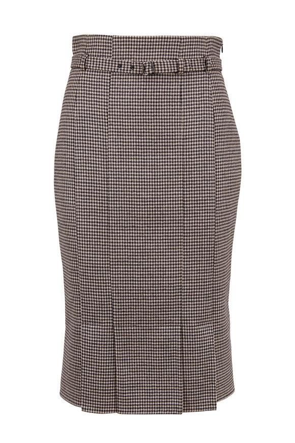 Akris Black & Taupe Houndstooth Midi Pencil Skirt