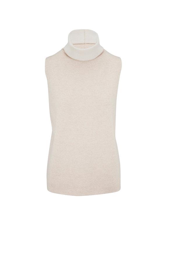 Lafayette 148 New York Oatmeal Double Knit Cashmere Sleeveless Sweater
