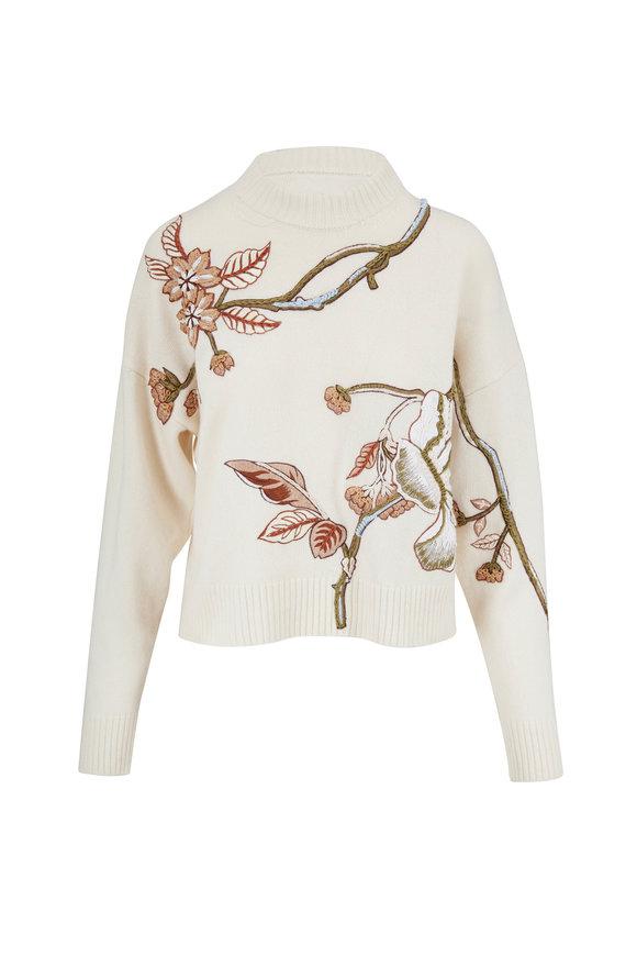 Oscar de la Renta Ivory Embroidered Crewneck Sweater