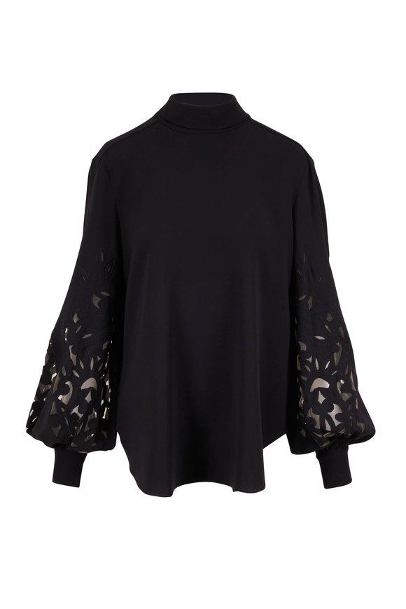 Oscar de la Renta Black Silk Embroidered Sleeve Blouse