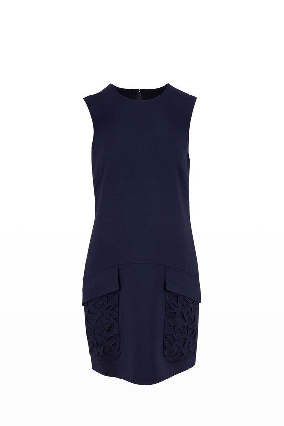 Oscar de la Renta Navy Blue Stretch Wool Embroidered Pocket Dress