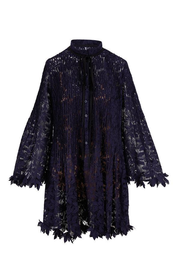 Oscar de la Renta Navy Blue Floral Lace Dress