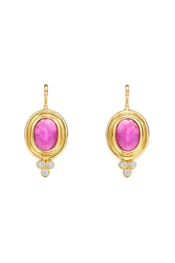 Temple St. Clair 18K Yellow Gold Pink Tourmaline Earrings