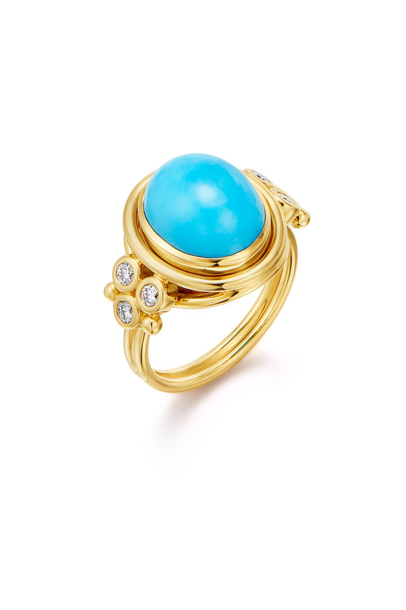 Temple St. Clair 18K Yellow Gold Classic Turquoise Ring