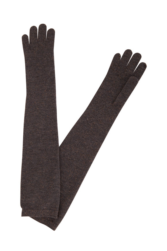 Brunello Cucinelli Grey Cashmere Blend Lurex Knit Long Gloves