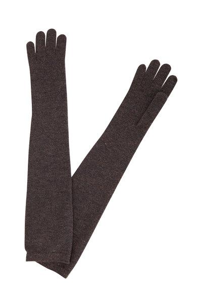 Brunello Cucinelli - Grey Cashmere Blend Lurex Knit Long Gloves