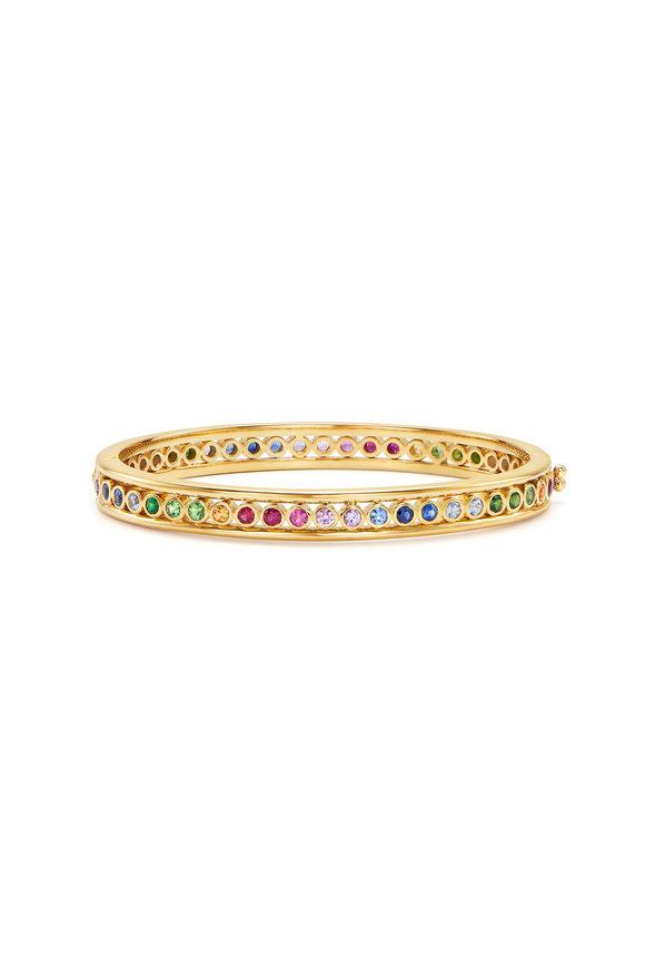 Temple St. Clair 18K Yellow Gold Rainbow Eternity Bracelet