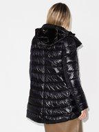 Herno - Black Velvet & Nylon Hooded Puffer Coat