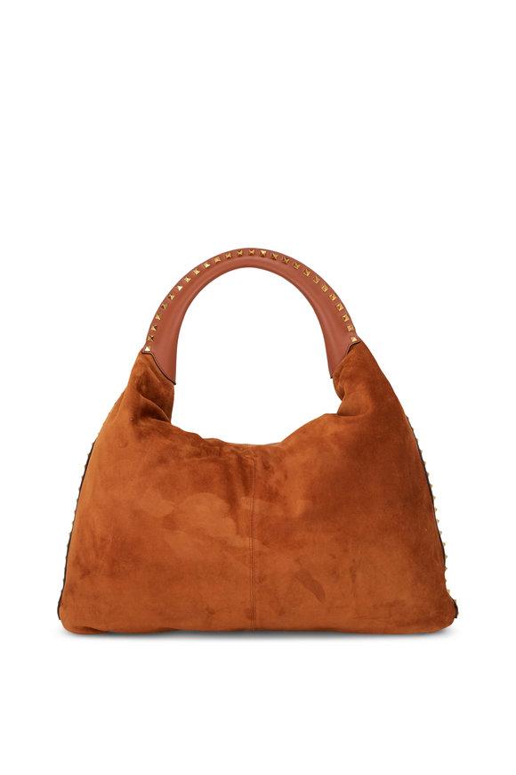 Valentino Garavani Rockstud Cognac Suede & Calfskin Hobo Bag