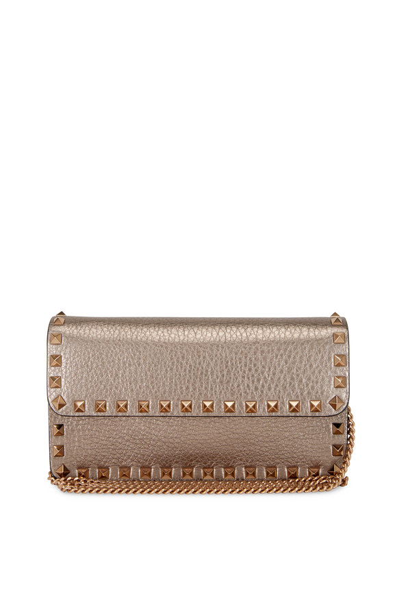 Valentino Garavani Rockstud Sasso Meatllic Leather Wallet-on-Chain