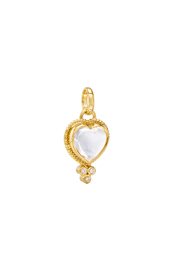 Temple St. Clair 18K Yellow Gold Braided Crystal Heart Pendant