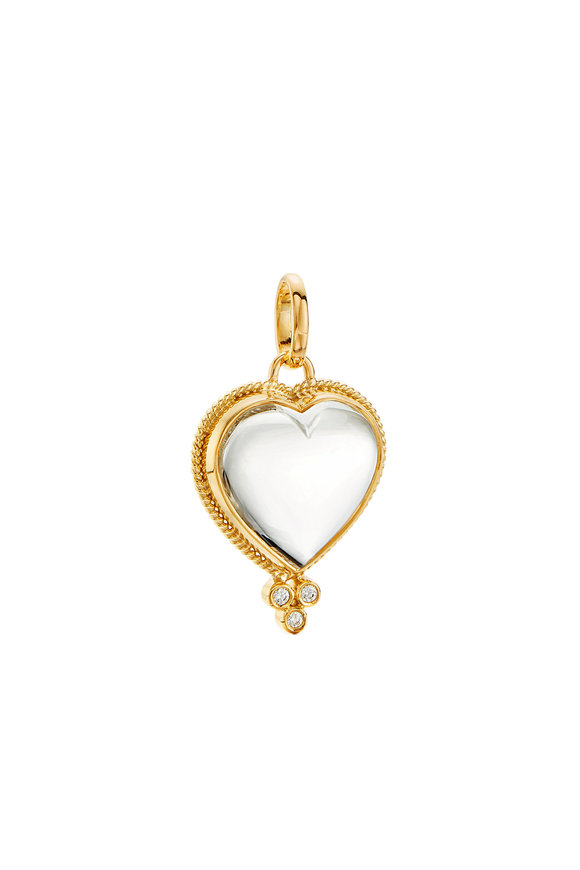 Temple St. Clair 18K Yellow Gold Crystal Heart Pendant