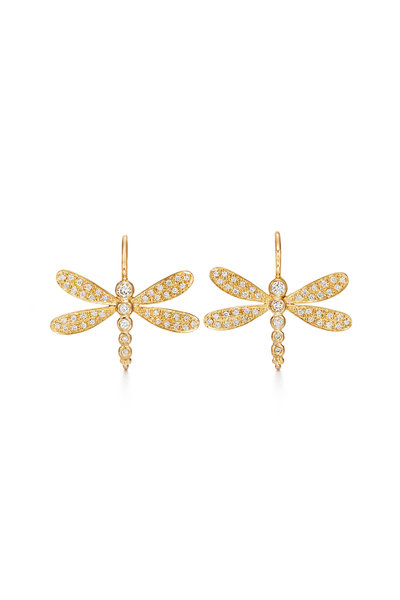 Temple St. Clair - 18K Yellow Gold Pavé Dragonfly Earrings