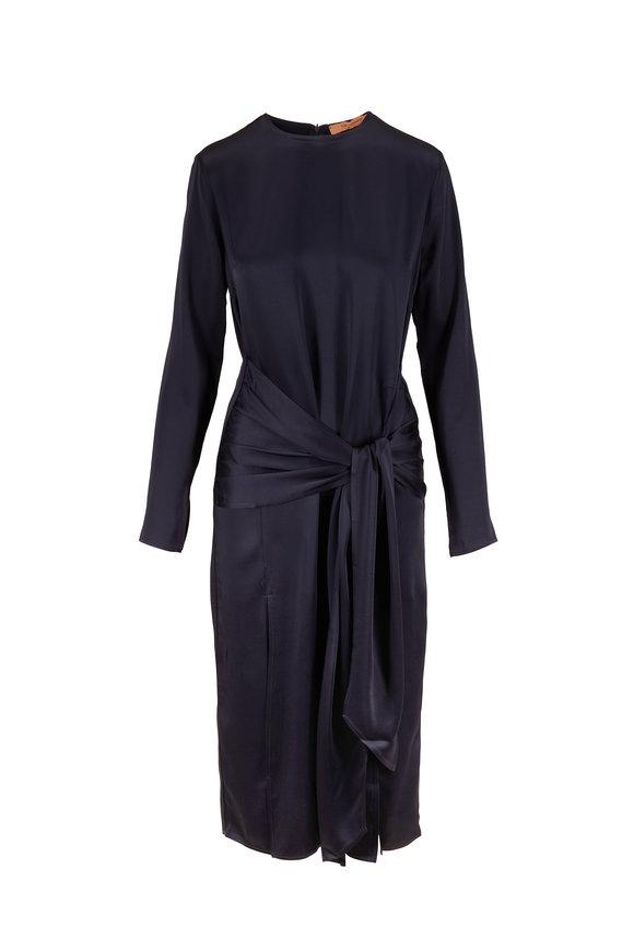 Andamane Navy Blue Eugenie Knotted Midi Dress