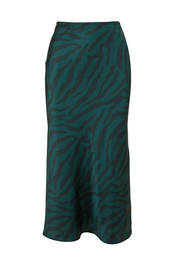 Andamane Belle Green Zebra Print Midi Skirt