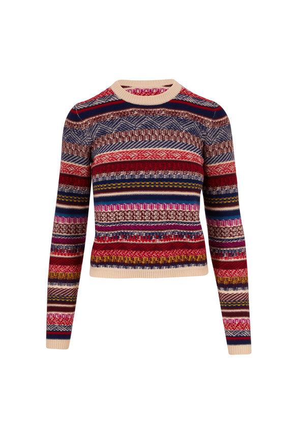 Eric Bompard Multicolor Fairisle Jacquard Crewneck Sweater