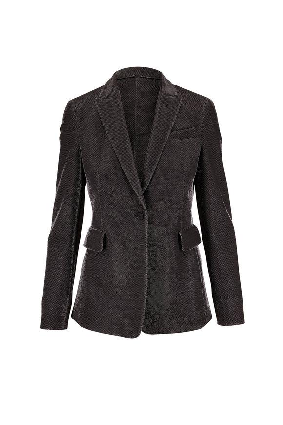 Akris Punto Silver Metallic Pinstripe Single Button Jacket