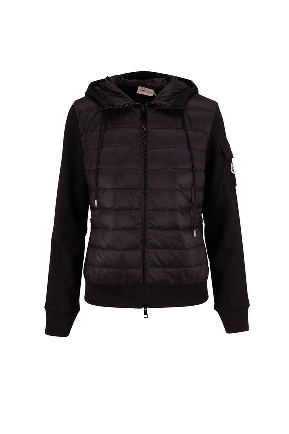 Moncler Black Knit Hooded Down Sweatshirt