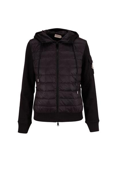 Moncler - Black Knit Hooded Down Sweatshirt