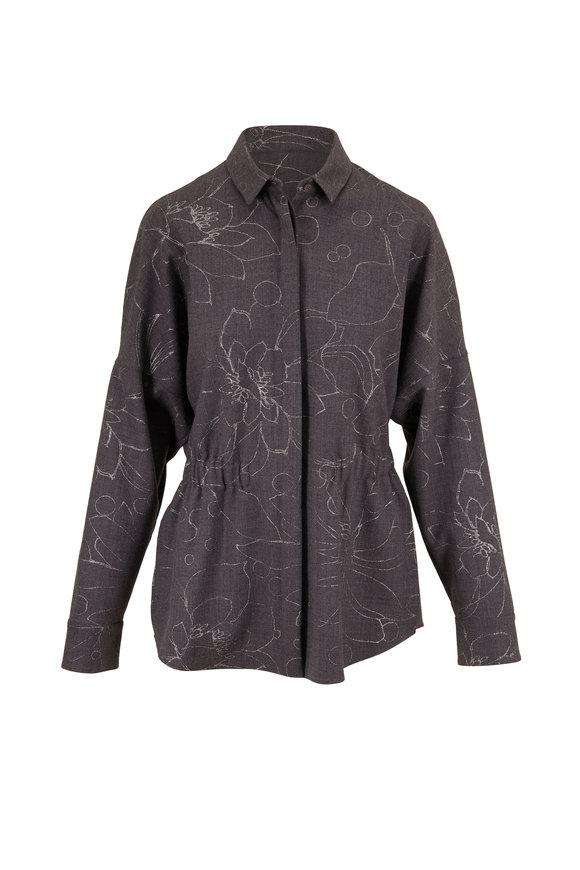 Akris Punto Charcoal Grey Floral Button Down Shirt