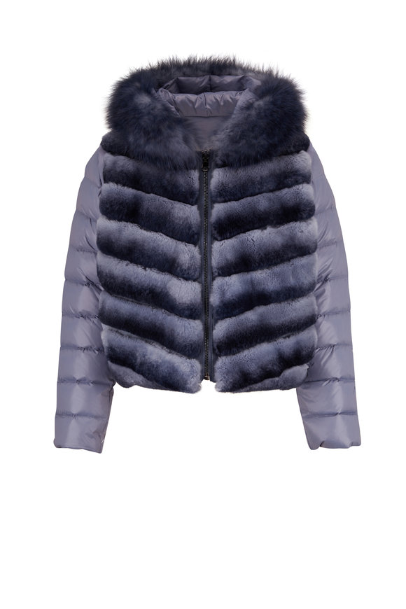 Viktoria Stass Denim Blue Short Reversible Fur Puffer Jacket