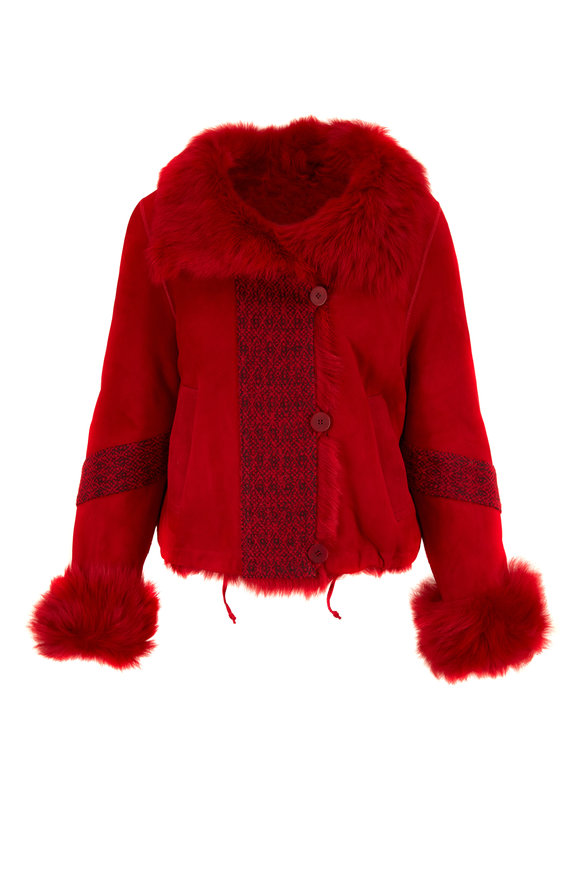 Viktoria Stass Red Shearling Lined Suede Jacket