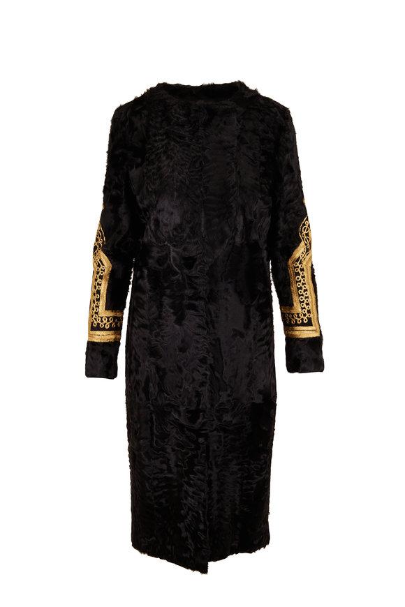 Oscar de la Renta Furs Black Dyed Lamb Coat