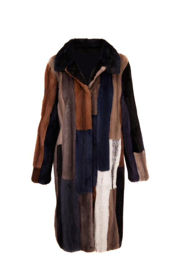 Reich Furs Navy Multi Dyed Mink Coat